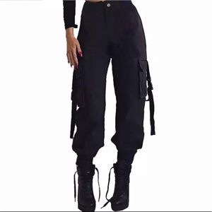 Womens black cargo pants